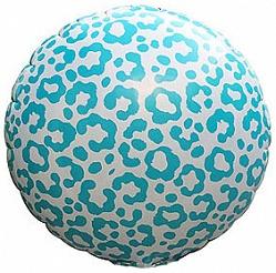 Шар (18''/46 см) Круг, Окрас леопарда, Голубой, 1 шт.