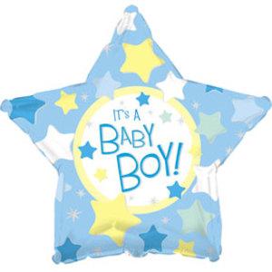 Шар (18''/46 см) Звезда, С рождением мальчика, Голубой, 1 шт.