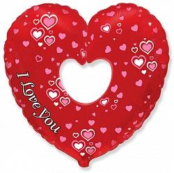 Шар (35''/89 см) Фигура, Сердце в сердце Бублик, 1 шт.