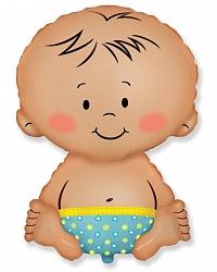 Шар (32''/81 см) Фигура, Малыш мальчик, Голубой, 1 шт.
