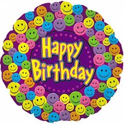 Шар (18''/45 см) Круг, С Днем рождения (улыбки), Фиолетовый, 1 шт.