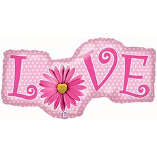 Шар (39''/99 см) Фигура, Ромашка любовь, Розовый, 1 шт.