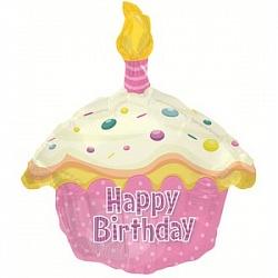 Шар (20''/51 см) Фигура, Кекс с Днем рождения, Розовый, 1 шт.