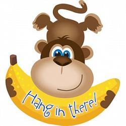 Шар (28''/71 см) Фигура, Обезьянка с бананом, Коричневый, 1 шт.
