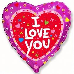 Шар (18''/45 см) Сердце, Я люблю тебя, Розовый, 1 шт.