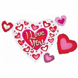 Шар (40''/102 см) Фигура, Сердце в сердечках