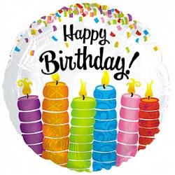 Шар (18''/45 см) Круг, С Днем рождения (горящие свечи), Белый, 1 шт.