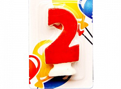 Свеча Цифра 2 Цветная