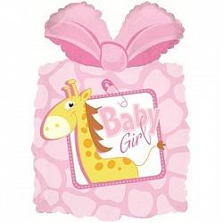 Шар (28''/71 см) Фигура, Подарок новорожденной девочке, Розовый, 1 шт.