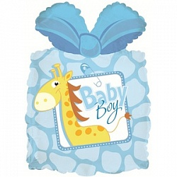 Шар (28''/71 см) Фигура, Подарок новорожденному мальчику, Голубой, 1 шт.