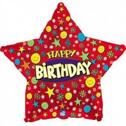 Шар (18''/46 см) Звезда, С Днем рождения (улыбки), Красный, 1 шт.