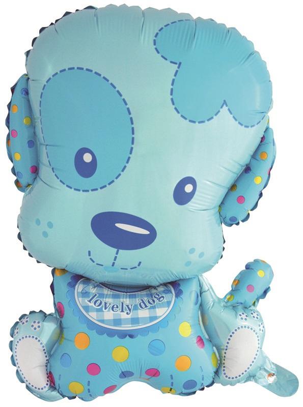 Шар (28''/71 см) Фигура, Маленький щенок Мальчик, Голубой, 1 шт.