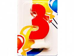 Свеча Цифра 3 Цветная
