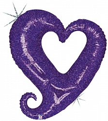 Шар (37''/94 см) Фигура, Цепь сердец фиолетовый, Голография, 50 шт.