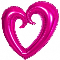 Шар (40''/102 см) Фигура, Сердце вензель, Фуше, 1 шт.