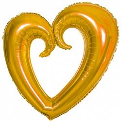 Шар (40''/102 см) Фигура, Сердце вензель, Золото, 1 шт.
