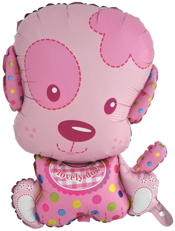 Шар (28''/71 см) Фигура, Маленький щенок Девочка, Розовый, 1 шт.