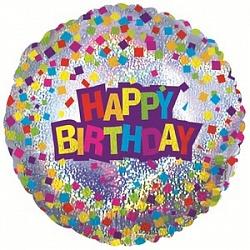 Шар (18''/45 см) Круг, С Днем рождения (конфетти), Голография, 1 шт.
