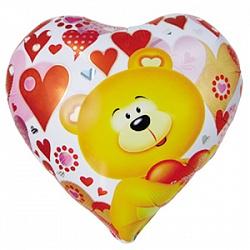 Шар (18''/45 см) Сердце, Мишка с сердцем, 1 шт.