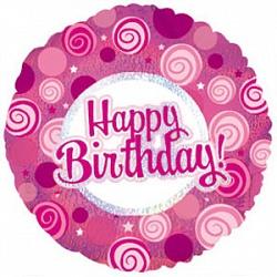 Шар (18''/46 см) Круг, С Днем рождения (розовые завитки), Голография, 1 шт.