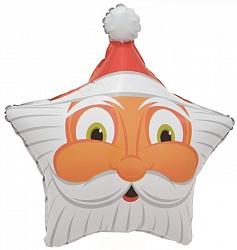 Шар (24''/61 см) Звезда, Голова Деда Мороза, 1 шт.
