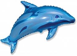 Шар (38''/97 см) Фигура, Дельфин фигурный, Синий, 1 шт.