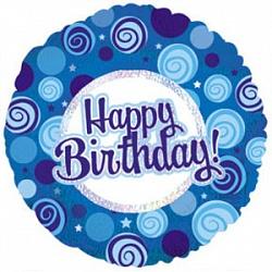 Шар (18''/46 см) Круг, С Днем рождения (синие завитки), Голография, 1 шт.