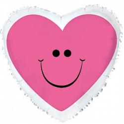 Шар (18''/45 см) Сердце, Сердце с улыбкой, Розовый, 1 шт.