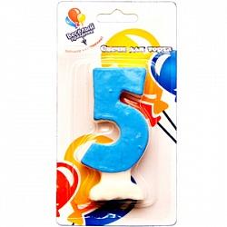 Свеча Цифра 5 Цветная