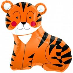 Шар (33''/84 см) Фигура, Тигр, Оранжевый, 1 шт.