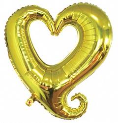 Шар (36''/91 см) Фигура, Цепь сердец, Золото, 1 шт.