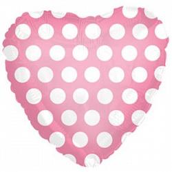 Шар (18''/45 см) Сердце, В белый горошек, Розовый, 1 шт.