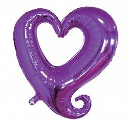 Шар (36''/91 см) Фигура, Цепь сердец, Фиолетовый, 1 шт.
