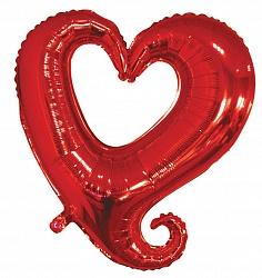 Шар (36''/91 см) Фигура, Цепь сердец, Серебро, 1 шт.