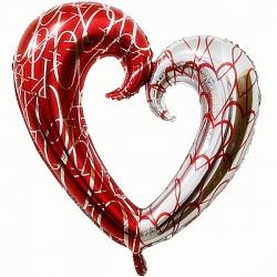 Шар (43''/109 см) Фигура, Сердце красный-серебро, 1 шт.