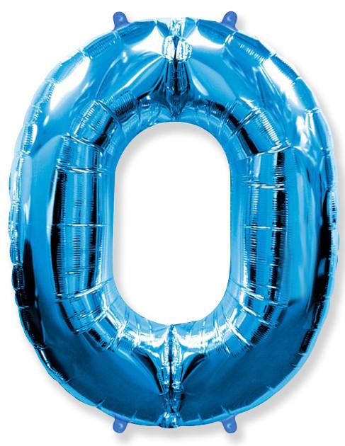 Шар (40''/102 см) Цифра, 0, Синий, 1 шт.