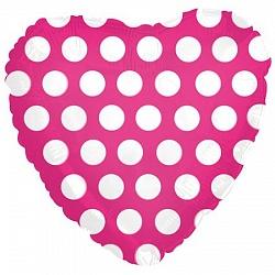 Шар (18''/45 см) Сердце, В белый горошек, Фуше, 1 шт.
