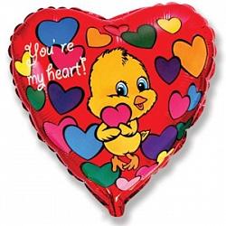 Шар (18''/45 см) Сердце, Влюбленный цыпленок, Красный, 1 шт.