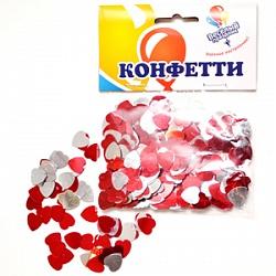 Конфетти Сердечки металлизированные, красный и серебро