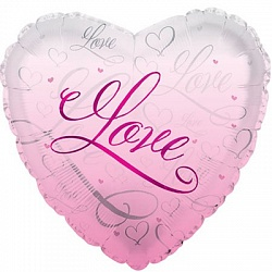 Шар (18''/45 см) Сердце, Романтичная любовь, Розовый, 1 шт.