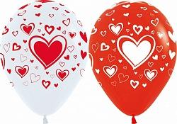 Шар (12''/30 см) Сердца, Белый (005) / Красный (015)