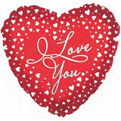 Шар (18''/45 см) Сердце, Я люблю тебя (водопад сердец), 1 шт.