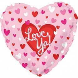 Шар (18''/45 см) Сердце, Я люблю тебя (маленькие сердечки), Розовый, 1 шт.