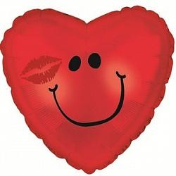 Шар (18''/45 см) Сердце, Смайл с поцелуем, Красный, 1 шт.