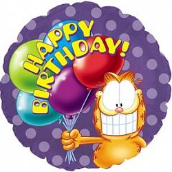 Шар (18''/45 см) Круг, С Днем рождения (Гарфилд с шариками), Сиреневый, 1 шт.