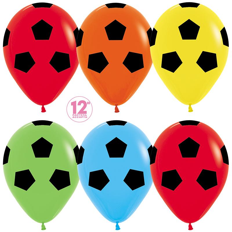 Шар (12''/30 см) Футбольный мяч, Ассорти, пастель, 5 ст, 1 шт.