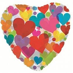 Шар (18''/45 см) Сердце, Сердце с разноцветными сердечками, Прозрачный, 1 шт.