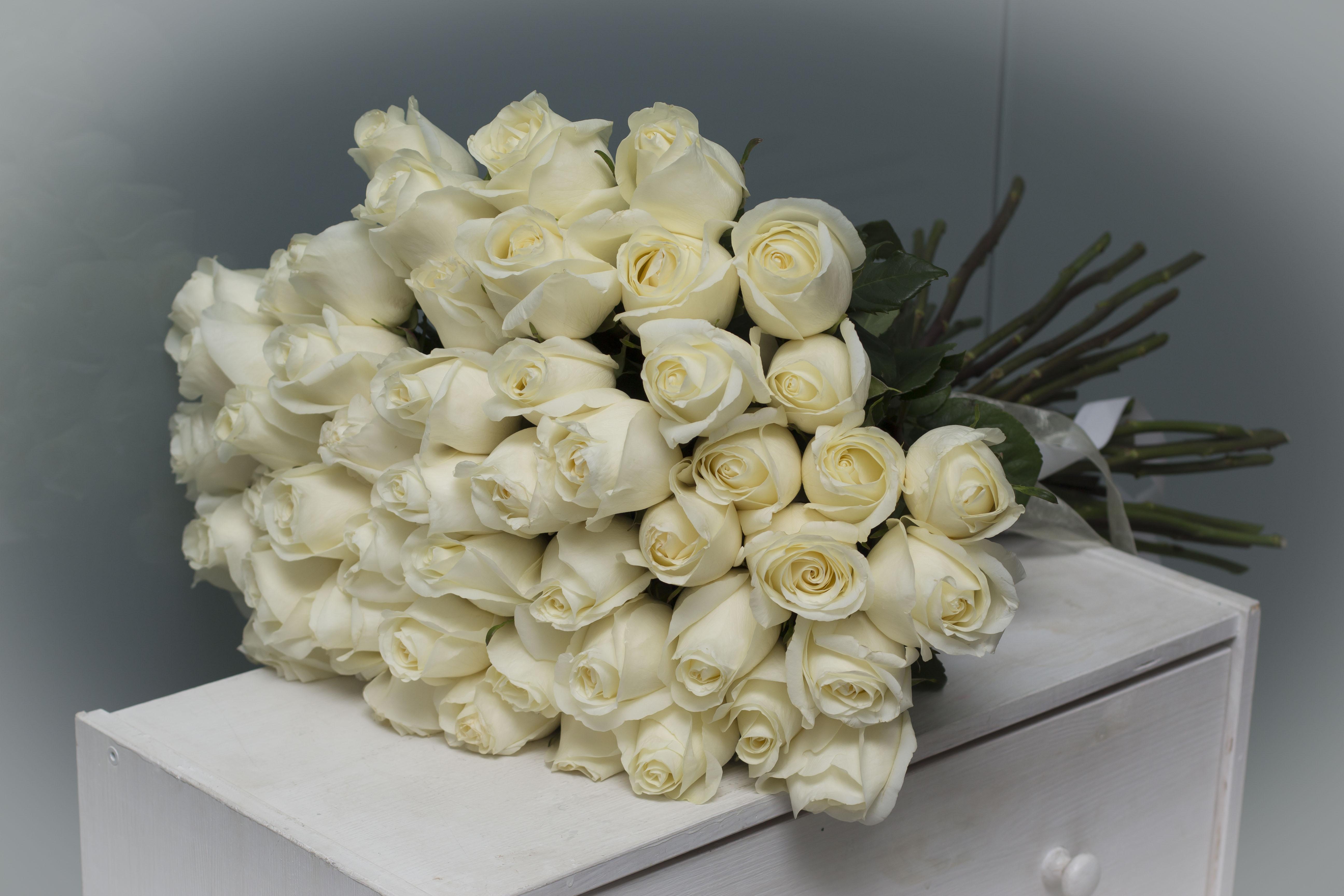 Букет из белых роз 51шт №64