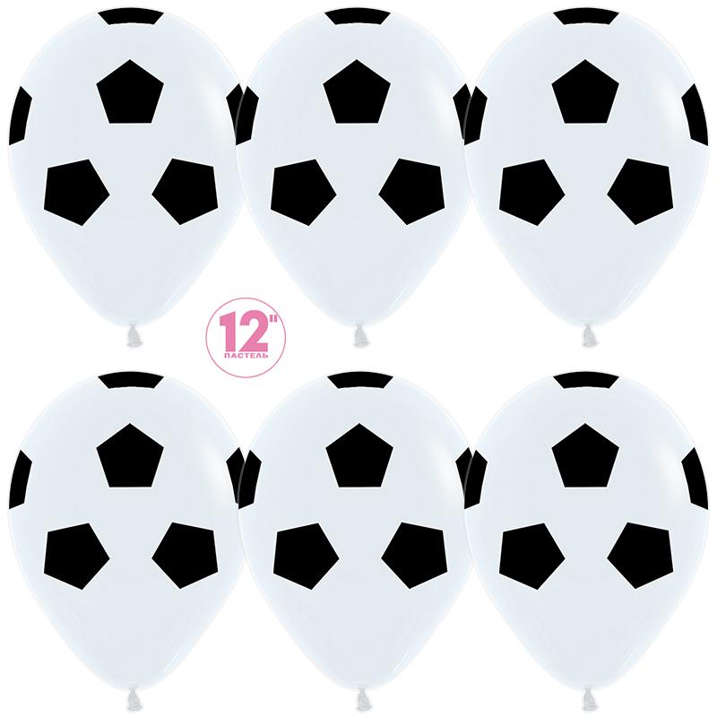 Шар (12''/30 см) Футбольный мяч, Белый (005), пастель, 5 ст, 1 шт.
