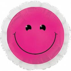 Шар (18''/45 см) Круг, Смайл неон, Розовый, 1 шт.